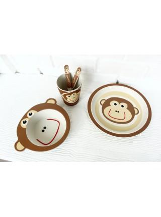 Набор бамбуковой посуды Обезьянка