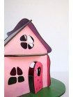 """Дом конструктор из дерева """"Розовый"""""""