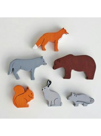 Набор лесных животных из дерева 6 шт.