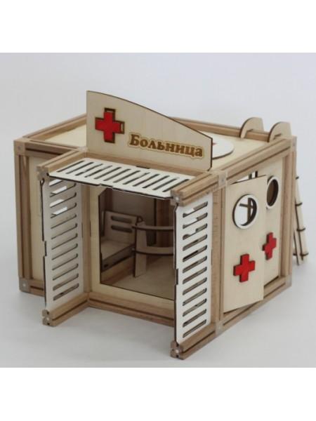 Деревянный магнитный домик Больница + Мебель