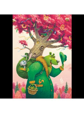 Деревянный пазл Зеленый медведь