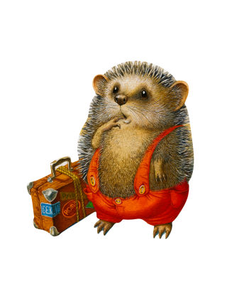 Деревянный пазл Ежик-путешественник