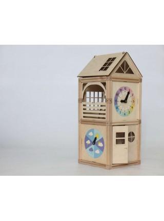 Деревянный магнитный домик Часовая Башня