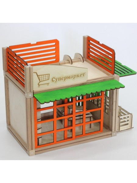 Деревянный магнитный домик Супермаркет