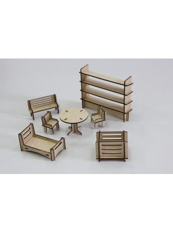 Деревянный набор мебели для домиков