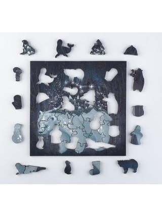 Деревянный пазл-головоломка Полярный медведь